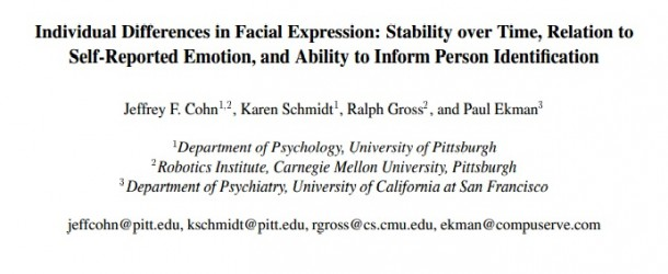 Individual Differences in Facial Expression: Stability over Time, Relation to Self-Reported Emotion, and Ability to Inform Person Identification